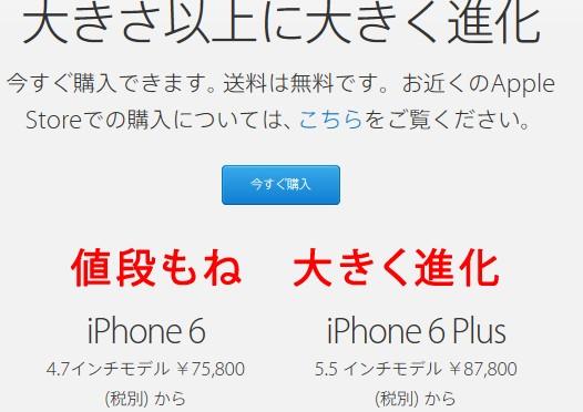 iPhone6 値上げ(Apple Store)